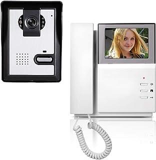 AMOCAM Video Door Phone System, 4.3 Inch Clear LCD Monitor Wired Video Intercom Doorbell Kits, Night Vision Camera Door Be...