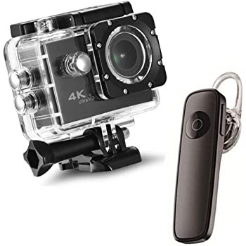 Drumstone {*Water-Sport Special*} 4K 16MP WiFi Waterproof Sports Action Camera and Smart Mini Bluetooth Headphone V4.1 K1 Single in-Ear Stereo Sound Earbud