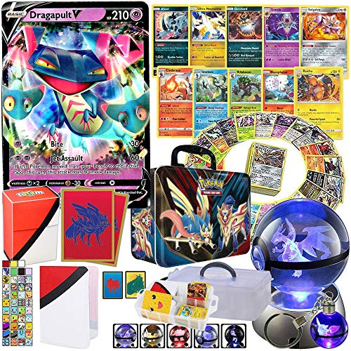 Totem World Premium Collection Ultra Rare with 100 Pokemon Cards - Card Sleeves - Deck Box - Binder - 3D Crystal Ball LED Night Light & Keychain Inside a Storage Tin / Case / Box
