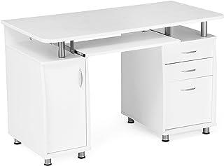 Songmics LCD871W, Bureau Informatique Meuble de Bureau pour Ordinateur, 3 Tiroirs Tablette à Glissière, Blanc