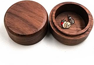 Seatrend Mini Antique Walnut Wood Jewelry Box, Wooden Round Earrings Organizer, Portable Wedding Ring Decoration Box Trinket Decorative Case