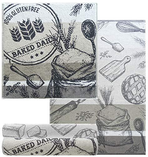 Lashuma 4er Küchenhandtuch Set Grau, 2X Geschirrtuch 50x70-2X Frottee Handtuch 50x50, Motiv: Backen