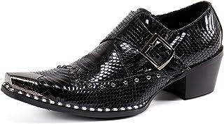 Rui Landed Exquisite Metal Toe Oxfords for Men Slip On Style Monk Strap Imitation Snake Skin Rivet Sole Genuine Leather Fo...
