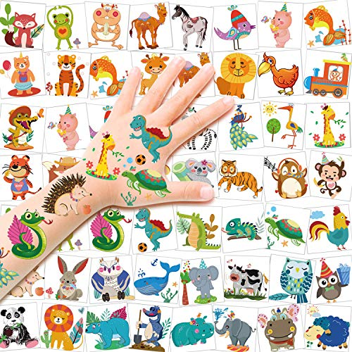 HOWAF Tattoo Kinder, 96 Zoo Tier Tattoo Set, Tier Temporäre Tattoos Safari Party Kindertattoos Aufkleber für Jungen Mädchen Kinder Spielen Mitgebsel Kindergeburtstag Party