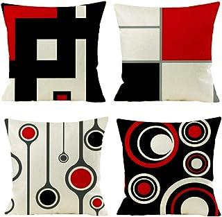 Gspirit Housse de Coussin, Lot de 4 en Coton et Lin Moderne Noir Rouge Géométrique Modèle Décoratif Taie d'oreiller Décora...