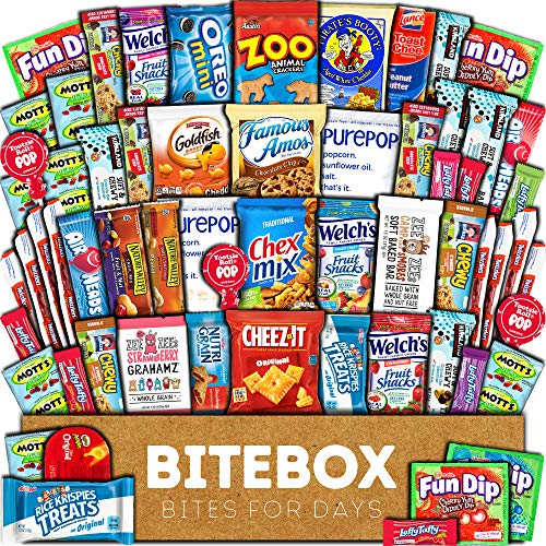 BiteBox Care Package (60 Count) Snacks Food Cookies Granola Bar Chips Candy Ultimate Variety Gift Box Pack Assortment Basket Bundle Mix Bulk Sampler Treat College Students Final Exam Father's Day