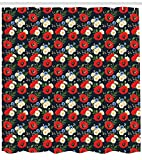 MLNHY Flower Shower Curtain, Seasonal Scene Design Flourishing Flower Arrangement with Honey Bees Poppy and Daisy, Cloth Fabric Bathroom Decor Set with Hooks, Multicolor,66 X 72 Inches,Multicolor