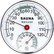 JENOR - Termómetro de acero inoxidable con medidor de pantalla para sauna, temperatura y humedad, medidor de humedad