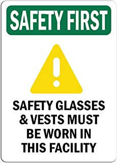 Safety First Sign - Safety Glasses & Vests Must with Symbol  Label Decal Sticker Retail Store Sign Sticks to Any Surface 8