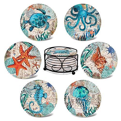 Roozio Posavasos para bebidas absorbentes con soporte, juego de 6 posavasos de cerámica divertidos, de piedra absorbente, base de corcho