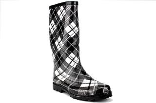 West BLVD Women's Waterproof Rubber Boot Calf High Plaid Rain Boots