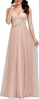 Ever-Pretty Abito da Cerimonia Stile Impero Scollo a V Linea ad A Lungo Lustrino Tulle con Appliques Donna 00789