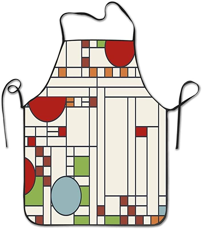 Fnghcoshu Frank Lloyd Wright S02 Adjustable Bib Apron Waterdrop Cooking Kitchen Aprons For Women Men Chef