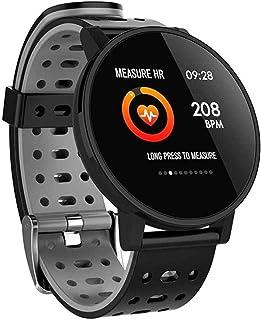 Gymqian Smart Watch Pulsera Inteligente Pantalla Redonda Tasa de Corazón Monitoreo de Presión Arterial Pulseras Bluetooth Varios Diales de Relojes Grandes Relojes Deportivos-Negro E