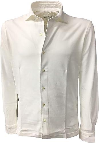 Della Ciana Chemise à Manches Longues pour Homme Piquet Blanc Modèle 43250 100% Coton Made in