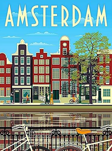 ABLERTRADE Atelstrade Blechschild, 20,3 x 30,5 cm, Amsterdam Holland Niederlande