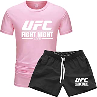 Men's T-shirt Men's Workout Top, Summer UFC Printing Short Sleeves, Gifts For Mixed Fighting Fans (Color : Pink, Size : Si...