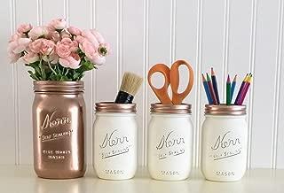 Mason Jar Desk Décor, 4-Piece Set, Rose Gold And White Office Accessories, Makeup Organizer, Vanity Set