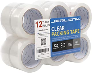 JARLINK Clear Packing Tape (12 Rolls), Heavy Duty Packaging Tape for Shipping Packaging Moving Sealing, 2.7mil Thick, 2 Inch Wide, 60 Yards Per Roll, 720 Total Yards