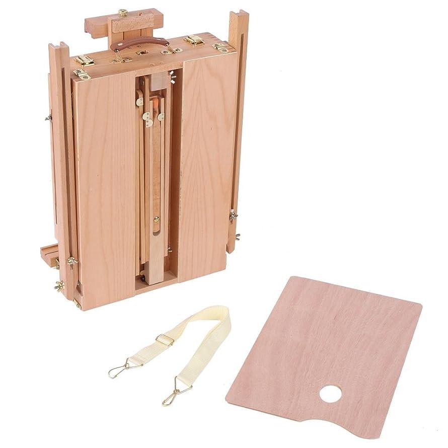 最適光打ち上げる収納引き出し付きの調整可能な木製デスクテーブルイーゼル、テーブルペインティングイーゼルスケッチボックスポータブル折りたたみアーティスト画家三脚(Large)