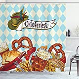 ambesonne Festival Dekorationen Collection, Brot Breze Karneval Party Germany Kostüm Fröhliche Polyester-Festival Illustration,-Badezimmer Duschvorhang Set mit Haken, braun blau