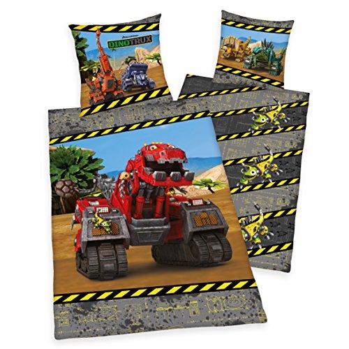 Herding DINOTRUX Bettwäsche-Set, Kopfkissenbezug 70x90cm, Bettbezug 140x200cm, 100% Baumwolle, Renforcé, mit leichtläufigem Reißverschluss