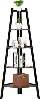 Homfa Industrial Corner Ladder Shelf, 5 Tier Bookcase A-Shaped Utility Display Organizer Plant Flower Stand Storage Rack, Wood Look Accent Metal Frame Furniture Home Office