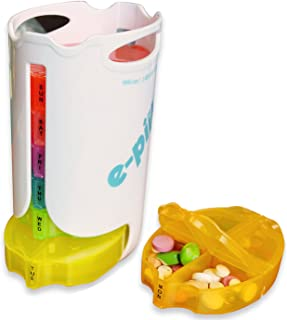 e-Pill | Tower Pill Box | Color-Coded Stacked Pill Box for Weekly Organization | 4 Daily Doses x 7 Days for Medications and Vitamins | Pill Cutter Included