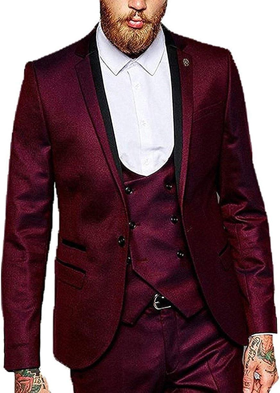 HSLS Men's Suit Slim Fit Shawl Lapel One Button 3 Piece Groomsmen Tuxedo