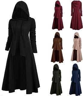 catmoew Vestido para Mujer Vintage Sudadera con Capucha Gótico Steampunk Sólido Manga Larga Pulóver Vestidos Mujeres Hallo...