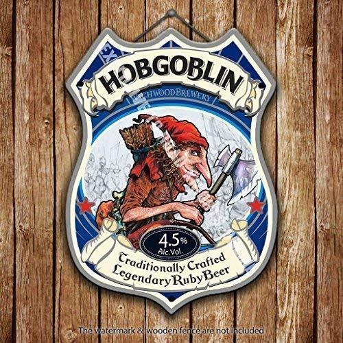 RKO wynchwood Hobgoblin rosa Bier Werbe bar, alte Pub Drink Pumpe Abzeichen Brewery Pint Form Metall/Stahl Wandschild - 27 x 20 cm
