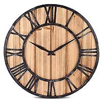qwertyuio 金属メカニズムを備えた壁時計北欧の大きなローマ数字-ヴィンテージ錬鉄製壁時計ソリッドスプルースウッドリビングルームミュートクリエイティブ壁時計-1_60Cm