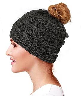 Glamorstar Trendy Messy Bun Beanie Ponytail Knit Hat Stretch Cable Chunky Bun Hat Black