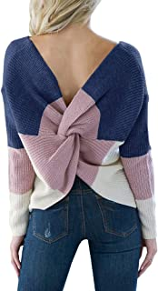 Womens Backless Color Block Sweater Knit Striped Cute V Neck Pullover Jumper