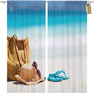 Golee Window Curtain Straw Hat Sun Glasses and Flip Flops on Tropical Home Decor Rod..