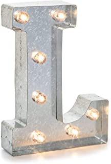 """Silver Metal Marquee Letter– L –Vintage-Style Lighted Marquee Letter with On/Off Switch, Ideal for Weddings, Special Events, and Room Décor, Galvanized Metal Finish, 9.87"""" Tall"""