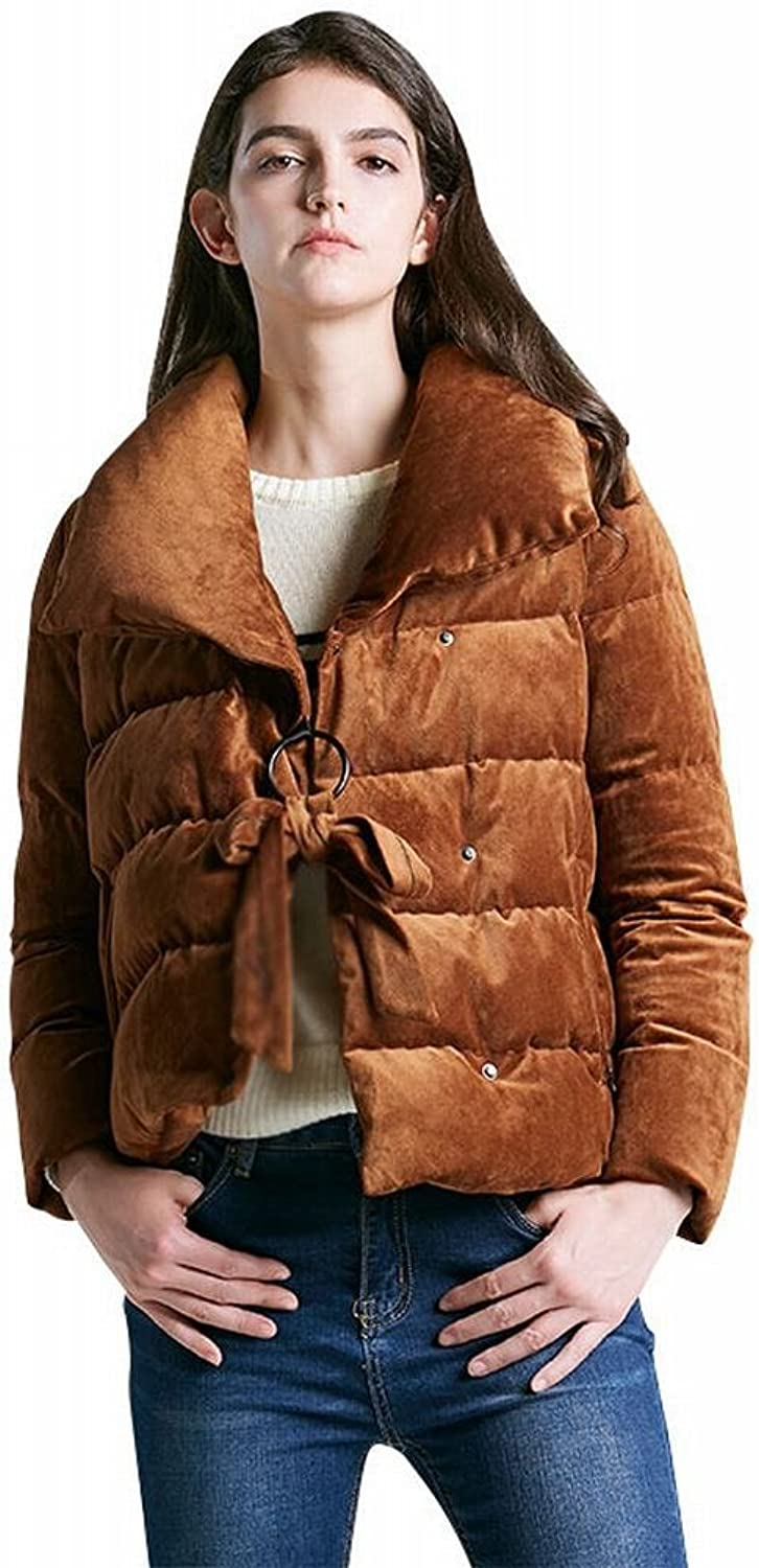 GCCI Winter Thickened Velvet down Jacket Lady Short Section High Collar Profile Students Bread Suit Casual Jacket