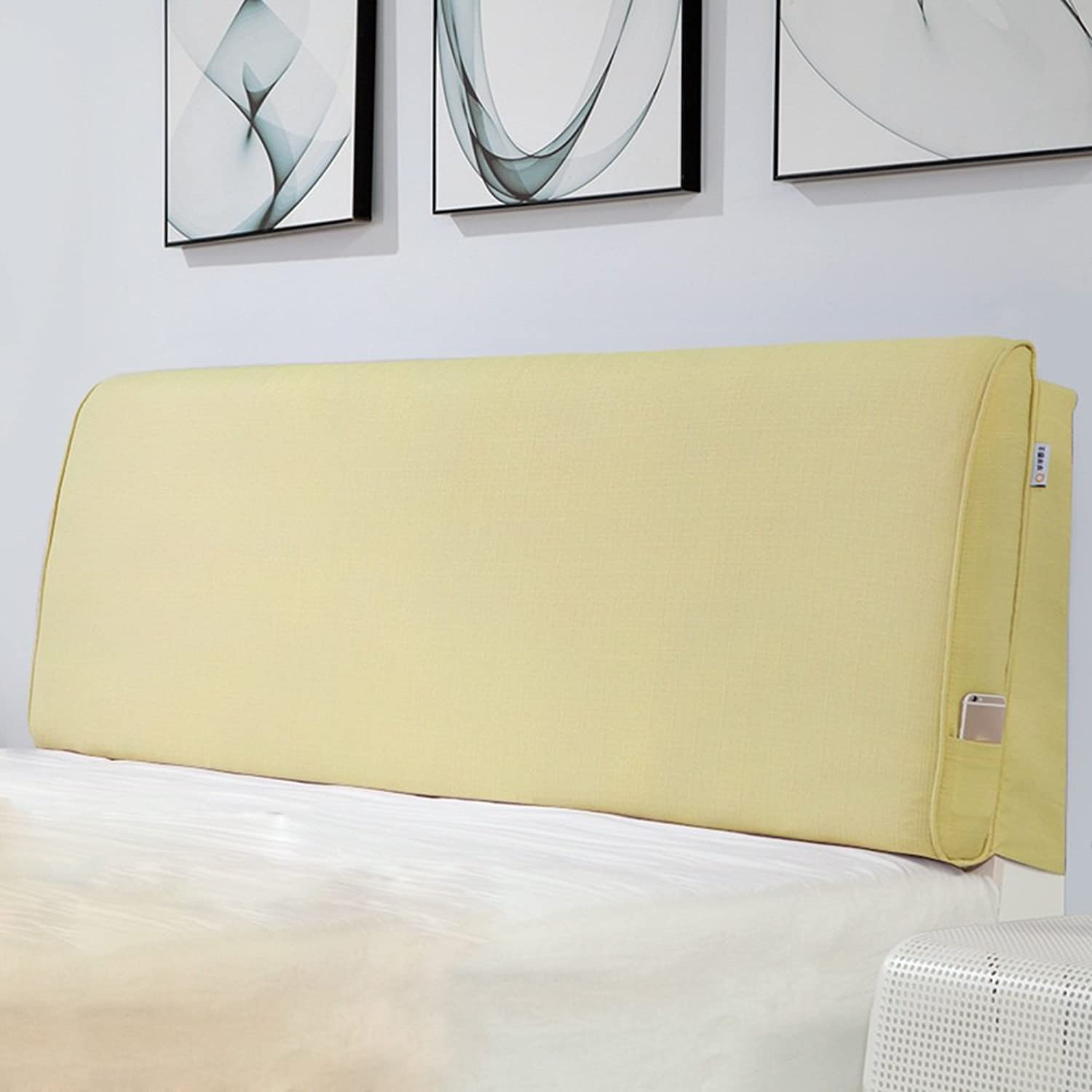 WENZHE Upholstered Fabric Headboard Bedside Cushion Pads Cover Bed Wedges Backrest Waist Pad Double Bed Cloth Art Sofa Pillow Soft Case Bedroom Large Back Washable Home Accessories Bed Cover, There Is Headboard   No Headboard, 6 colors, 4 Sizes Optional (