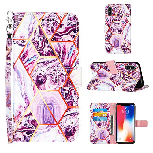 Compatible for iPhone X Wallet Case,iPhone Xs Wallet Case[Stand Feature][Wrist Strap][Credit Cards Holder] 2021 New Marble Pattern Premium PU Leather Flip Protective Cover (Purple, 5.8 inch)