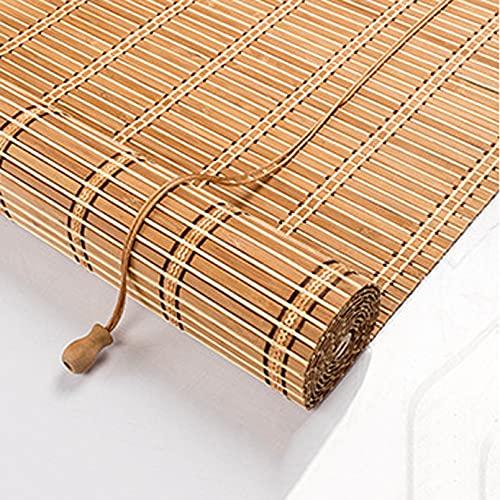 Bambú Enrollar Las Persianas,Estores Enrollable Romanas,Cortina Opaca,Toldo Vertical,Transpirable,UV,no Transparente,Para Balcón Cocinas Partición,60% de Apagón,Personalizable (W100xH120cm/39x47in)