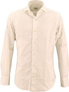 [GIANNETTO ジャンネット] メンズ カッタウェイ コットンオックスフォードシャツ WASH SLIM FIT WHITE ESSENTIAL WE14600L84 001(ホワイト)