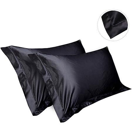 hootecheu Lot de 2 Taie d'oreillers Noir 84x54cm en Soie Satin Housse de Coussin Super Douceur Cheveux Protéger pour Chambre Maison pour Tous Les Saisons Surtout l'été