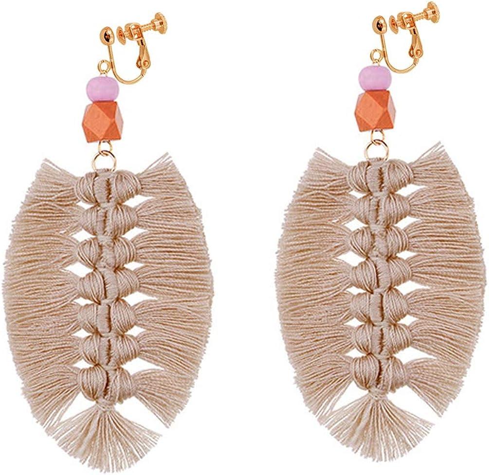 Bohemian Clip on Earrings non Pierced Dangle leaf Shape Thread Tassel Fringe Handmade Women Girl Pink