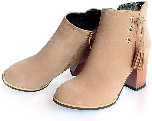 HBDLH Chaussures pour Femmes - Tassel Bottes Grossier Et Terrain De Bottes De Sexe Féminin Tête Ronde Talon 7Cm Bottes en Daim Bottes pour Dames.