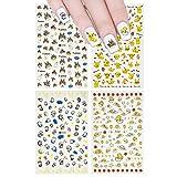 ALLYDREW 4 Sheets Nail Stickers Nail Art Set - Pokemon, Gudetama, Totoro & Doramon Nail Stickers