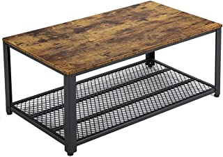 Yaheetech Industrial Coffee Table with Storage Shelf for Living Room, Accent Table with Metal Frame, Easy Assembly, Wood Look Furniture, Rustic Brown