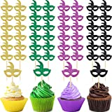 72 Pieces Glitter Masquerade Veil Toppers Party Cupcake Toppers Carnival Themed Cupcake Toppers Cupcake Supplies Picks for Party Decorations