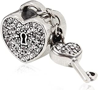 Key Charm 925 Sterling Silver To My Heart Charm Love Charm for Pandora Bracelet (White)
