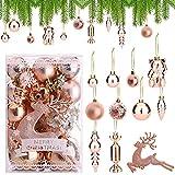 30 piezas Bolas de Navidad de Oro Rosa Adornos de bolas de Navidad Bolas de Navidad inastillables 3cm 4cm 6cm Adornos para árboles de Navidad Bola colgante de Navidad para decoración de fiesta en casa