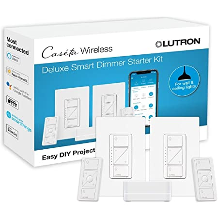 Lutron Caseta Deluxe Smart Dimmer Switch (2 Count) Kit   Works with Alexa, Apple HomeKit, and the Google Assistant   P-BDG-PKG2W-A   White